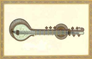 miniature_painting_sitar_painting_with_gold_work