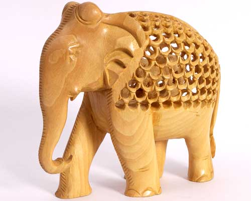 Embellished Wooden Elephant