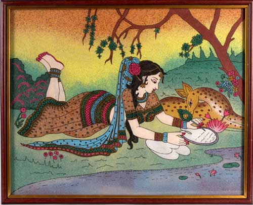 Girl writing a letter: Gemstone painting