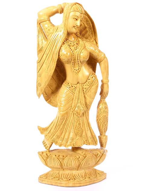 Wooden Statue of Woman from India