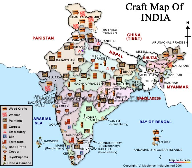 Handicrafts Map Of India Indian States And Crafts Map Of India And