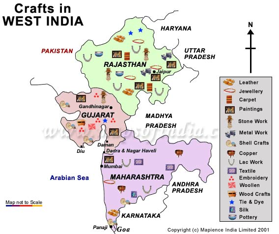 West india handicrafts map for West materials crafts in hindi