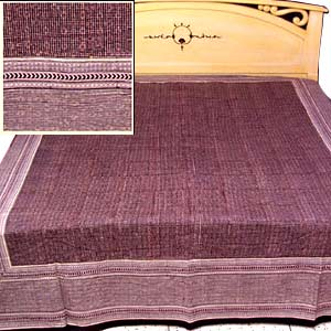 Brown checkered bed sheet