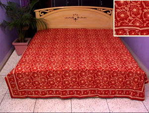Saffron-red colored bed sheet