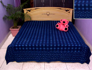 Ink blue colored bed sheet