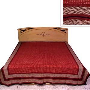 Brick red colored bed sheet