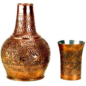 Copper Surahi with Glass