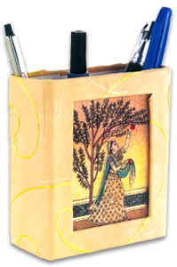 Pen Holder with Gem Stone Painting