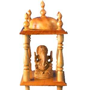 Wooden Mandir With Shri Ganesh