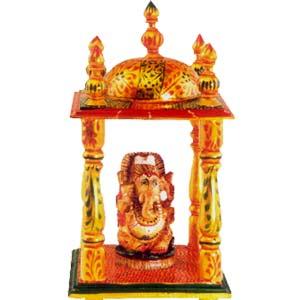 Wooden Mandir with Ganesha Painted