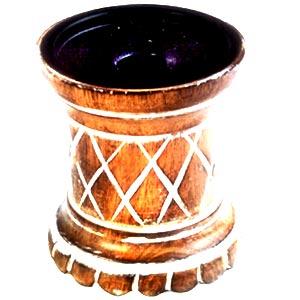 Antique Finish Wooden Candle Holder (Round Shape i)