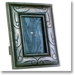 Antique Finish Wooden Photo Frame (Floral Design in Black 6 x 4 inches)
