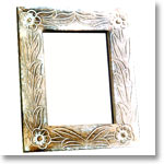 Antique Finish Wooden Photo Frame (Floral Design in White 8 x 6 inches)