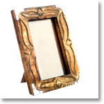 Antique Finish Wooden Photo Frame (Metallic Corners 5 x 3.5 inches)