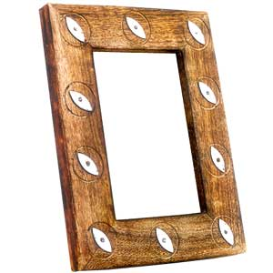 Antique Finish Wooden Photo Frame (Metallic Petal)