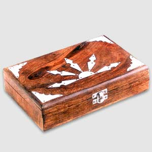 Antique Finish Wooden Box (Silver Sunrise 9 x 6 in