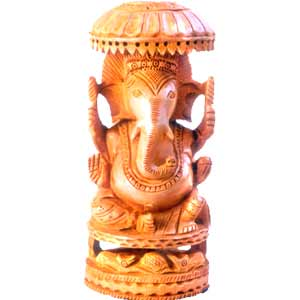 Wooden carved Ganesha with chattri