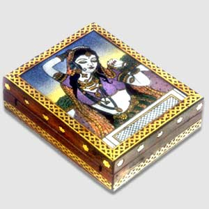 Wooden carved box with Gem Stone painting
