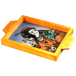 Wooden carved with Gem stone painting Tray