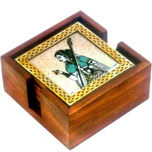Square Wooden coasters with brass & Gem Stone Pain