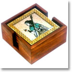 Square Wooden coasters with brass & Gem Stone Painting and Holder