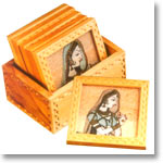 Square wooden coasters with Gem Stone Painting and holder