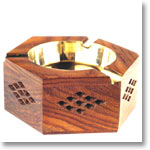 Wooden Ashtray with Brass Inlay