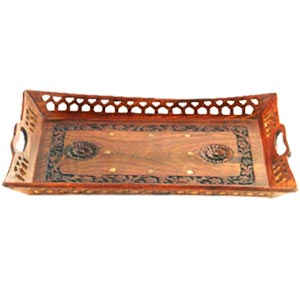 Wooden Tray with Carving and Brass Inlay