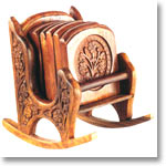 Wooden Chair Coaster with Carving