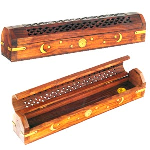 Wooden Incense Stick Holder with Brass Inlay