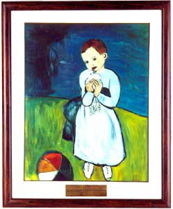 Child with a dove-Glass Painting