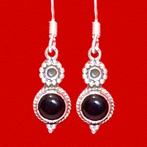 Black Onyx Silver Earrings:  Queens Collection