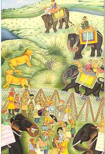 Shah Jahan hunting lions at Burhanpur