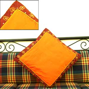 Silk Orange Maroon Cushion Cover