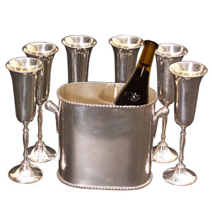 Amazon.com: Island Bamboo 4GWCHILL Wine Cooler and 4 Glass Caddy