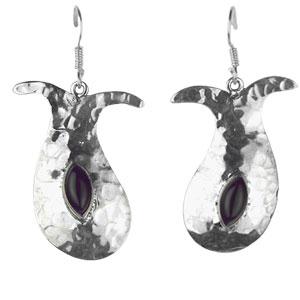 Black Onyx Silver Designer Earrings