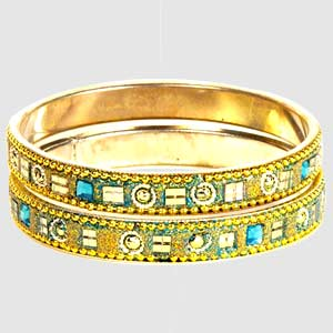 Blue Kundan Bangle Set