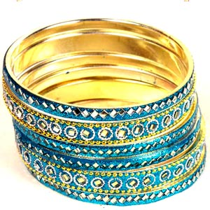 Craft Ideas  Bangles on Blue Bangles Set  Blue Mirrorwork Bangles Set  Indian Bangle Set