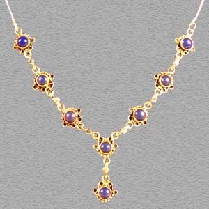 Craft Ideas Jewellery on Blue Stone Necklace  Gem Stone Beaded Necklace  Gem Stone Silver
