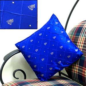 Blue Satin Cushion Cover