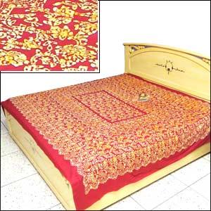 Designer Red Batik Bed Spread
