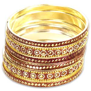 Golden-Brown Mirrorwork Bangle Set