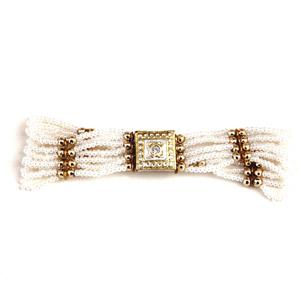 Golden White Beaded Lacquer Bracelet