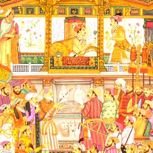 Jahangir presents Prince Khurram with a turban orn