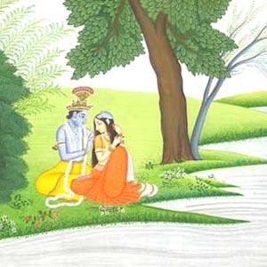 Krishna Adorning Radha Miniature Painting