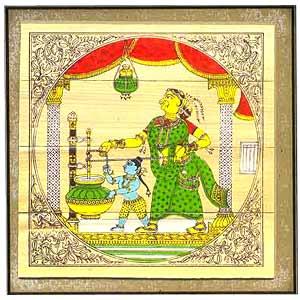 Krishna churns butter