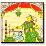 Krishna churns butter