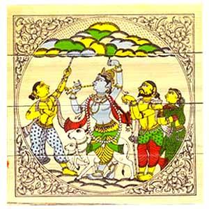 Krishna lifts Govardhan Hill