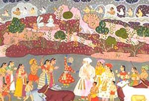 Krishna Lifting Govardhan Miniature Painting