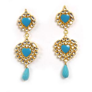 Kundan Firoza Earrings